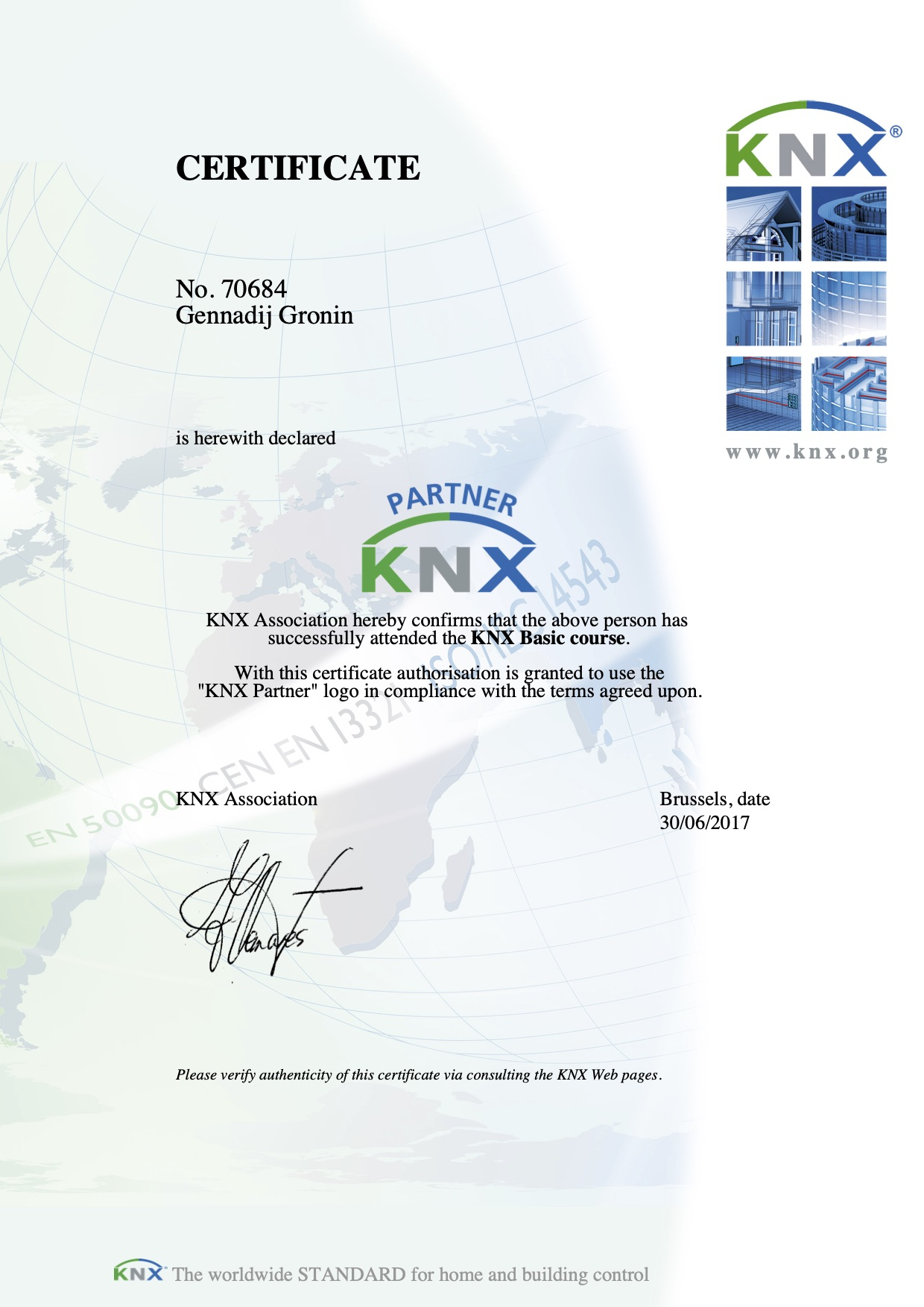 Zertifikat KNX Partner - KNX Basic course